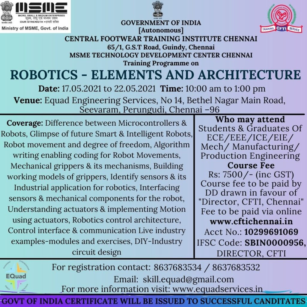 Robotics Elements and Architecture with Free Internship